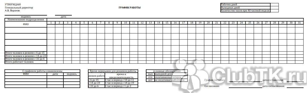 Как составить сменный график работ посуточно с тремя работниками