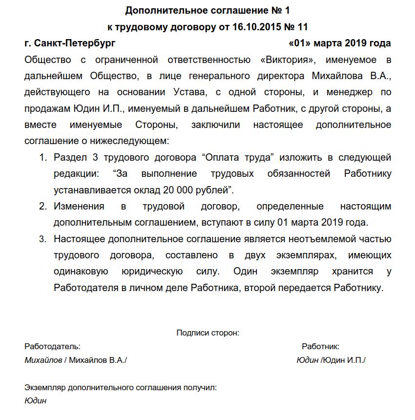 Дополнительное соглашение о расторжении соглашения образец