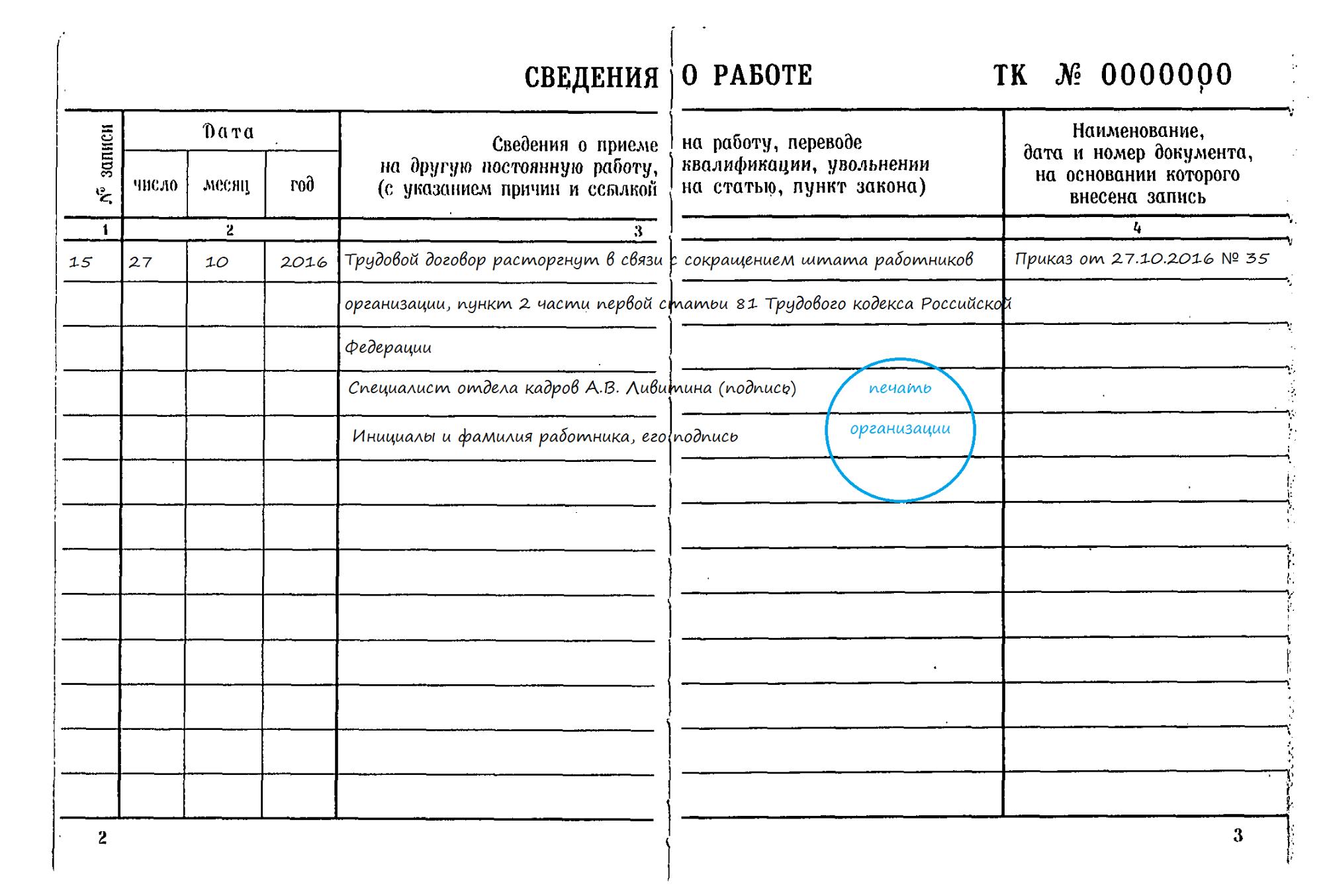 Увольнение по сокращению запись в трудовой книжке документы для кредита в москве Академика Челомея улица